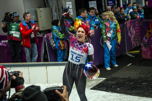 KRASNAYA POLYANA, RUSSIA  - JANUARY 14: American Katie Uehlander, of Breckenridge, Colo., reacts after competing the women's skeleton competition at Sanki Sliding Center during the 2014 Sochi Olympics Friday February 14, 2014. Uehlander finished in fourth place with a time of 3:54.34. (Photo by Chris Detrick/The Salt Lake Tribune)