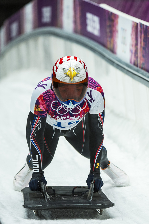 KRASNAYA POLYANA, RUSSIA  - JANUARY 14: American Katie Uehlander, of Breckenridge, Colo., competes during the women's skeleton competition at Sanki Sliding Center during the 2014 Sochi Olympics Friday February 14, 2014. Uehlander finished in fourth place with a time of 3:54.34. (Photo by Chris Detrick/The Salt Lake Tribune)