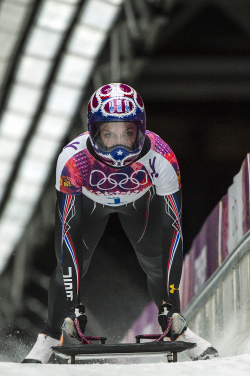 KRASNAYA POLYANA, RUSSIA  - JANUARY 14: Noelle Pikus-Pace competes in the women's skeleton competition at Sanki Sliding Center during the 2014 Sochi Olympics Friday February 14, 2014. Pikus-Pace finished with a time of 3:53.86, wining the silver medal. (Photo by Chris Detrick/The Salt Lake Tribune)