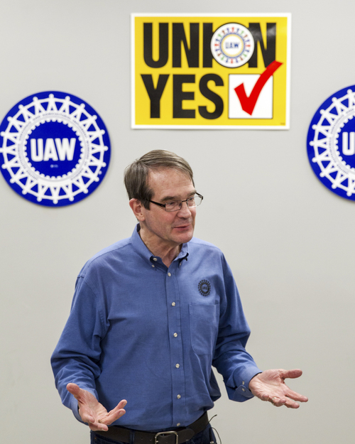 United Auto Workers President Bob King speaks to the media after workers at a Volkswagen factory voted against union representation in Chattanooga, Tenn., on Friday, Feb. 14, 2104. The 712 to 626 vote is a devastating blow to the union and its efforts to organize other Southern plants run by foreign automakers. (AP Photo/Erik Schelzig)