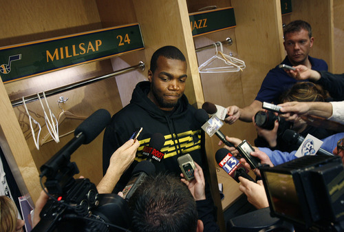 Scott Sommerdorf   |  The Salt Lake Tribune Paul Millsap answers questions at his locker. After losing in Memphis, and missing the playoffs, the Utah Jazz cleaned out their lockers and met with the press, Thursday, April 18, 2013.