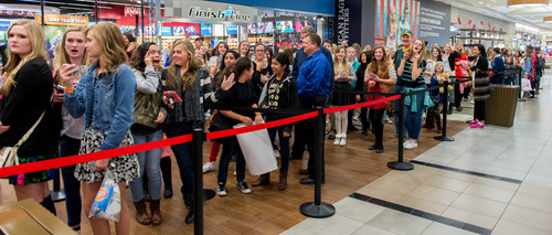 Trent Nelson  |  The Salt Lake Tribune Girls wait for their chance to meet YouTube star Bethany Mota, at the Aeropostale store in Fashion Place Mall in Murray where she opened a new line of clothing Thursday February 13, 2014.