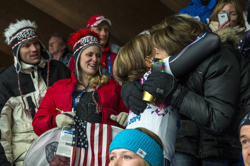 KRASNAYA POLYANA, RUSSIA  - JANUARY 14: Noelle Pikus-Pace hugs her mom Patricia Pikus after winning the silver medal in the women's skeleton competition at Sanki Sliding Center during the 2014 Sochi Olympics Friday February 14, 2014. Pikus-Pace finished with a time of 3:53.86. (Photo by Chris Detrick/The Salt Lake Tribune)