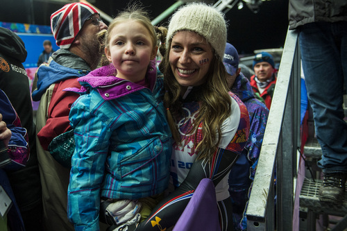 KRASNAYA POLYANA, RUSSIA  - JANUARY 14: Noelle Pikus-Pace and her daughter Lacee, 6, after winning the silver medal in the women's skeleton competition at Sanki Sliding Center during the 2014 Sochi Olympics Friday February 14, 2014. Pikus-Pace finished with a time of 3:53.86. (Photo by Chris Detrick/The Salt Lake Tribune)