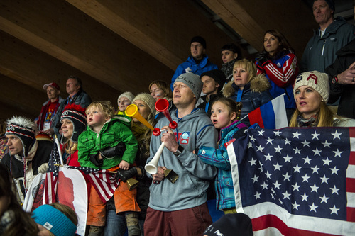 KRASNAYA POLYANA, RUSSIA  - JANUARY 14: Noelle Pikus-Pace's family; brother Jared, son Traycen, 2, sister Amanda, husband Janson, and daughter Lacee, 6, watch her compete in the women's skeleton competition at Sanki Sliding Center during the 2014 Sochi Olympics Friday February 14, 2014. Pikus-Pace finished with a time of 3:53.86. (Photo by Chris Detrick/The Salt Lake Tribune)