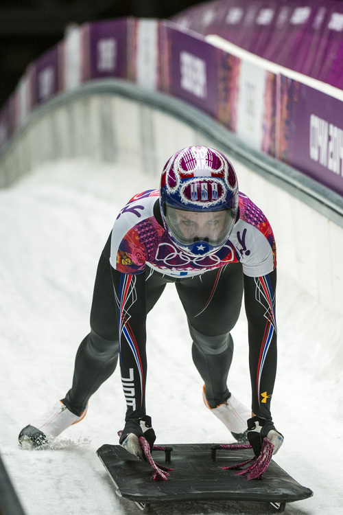 KRASNAYA POLYANA, RUSSIA  - JANUARY 14: Noelle Pikus-Pace competes in the women's skeleton competition at Sanki Sliding Center during the 2014 Sochi Olympics Friday February 14, 2014. Pikus-Pace finished with a time of 3:53.86. (Photo by Chris Detrick/The Salt Lake Tribune)