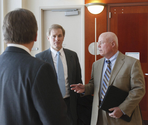 Trent Nelson     The Salt Lake Tribune Attorney Jeffrey Shields and Bruce Wisan after at a hearing on the UEP land trust Tuesday {month name} 5, 2013 in Salt Lake City
