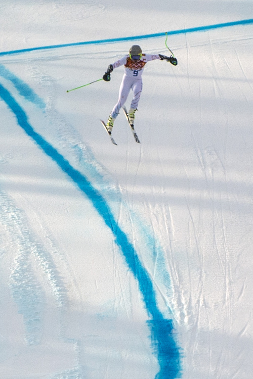 KRASNAYA POLYANA, RUSSIA  - JANUARY 16: Ted Ligety competes in the Men's Super-G at at Rosa Khutor Alpine Center during the 2014 Sochi Olympics Sunday February 16, 2014. Ligety finished in 14th place with a time of 1:19.48.  (Photo by Chris Detrick/The Salt Lake Tribune)