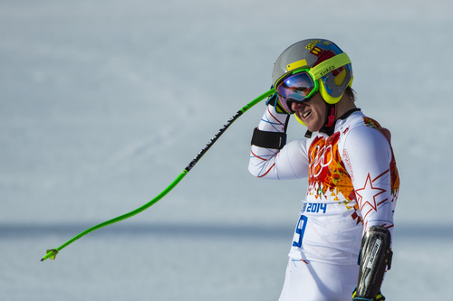 KRASNAYA POLYANA, RUSSIA  - JANUARY 16: Ted Ligety reacts after competing in the Men's Super-G at at Rosa Khutor Alpine Center during the 2014 Sochi Olympics Sunday February 16, 2014. Ligety finished in 14th place with a time of 1:19.48.  (Photo by Chris Detrick/The Salt Lake Tribune)