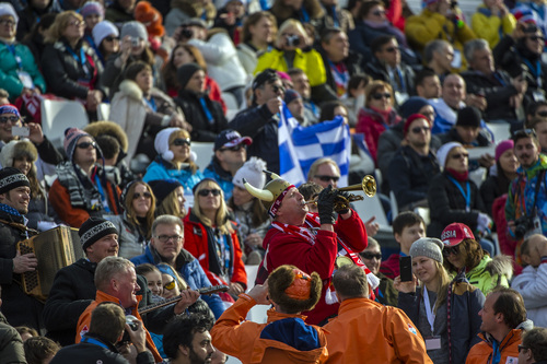 KRASNAYA POLYANA, RUSSIA  - JANUARY 16: Fans play music during the Men's Super-G at at Rosa Khutor Alpine Center during the 2014 Sochi Olympics Sunday February 16, 2014.  (Photo by Chris Detrick/The Salt Lake Tribune)