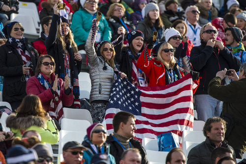 KRASNAYA POLYANA, RUSSIA  - JANUARY 16: Fans cheer for Ted Ligety as he competes in the Men's Super-G at at Rosa Khutor Alpine Center during the 2014 Sochi Olympics Sunday February 16, 2014. Ligety finished in 14th place with a time of 1:19.48.  (Photo by Chris Detrick/The Salt Lake Tribune)
