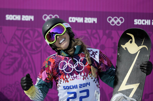 Australia's Torah Bright reacts after a seeding run during women's snowboard cross competition at the Rosa Khutor Extreme Park, at the 2014 Winter Olympics, Sunday, Feb. 16, 2014, in Krasnaya Polyana, Russia. (AP Photo/Andy Wong)