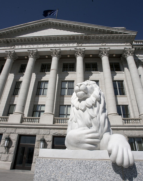 Steve Griffin | Tribune file photo  A lion keeps watch at the east entrance to the Capitol in Salt Lake City.