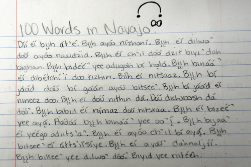 Rick Egan  |  The Salt Lake Tribune Caitlyn Black's story about a deer, written in the Navajo language for  Dorothy Bigman's class at Monument Valley High School in January.