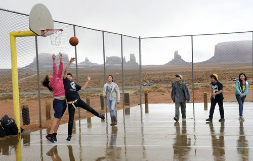 Rick Egan  | The Salt Lake Tribune   Students play basketball during their lunch break at Monument Valley High School on Friday, January 31, 2014.