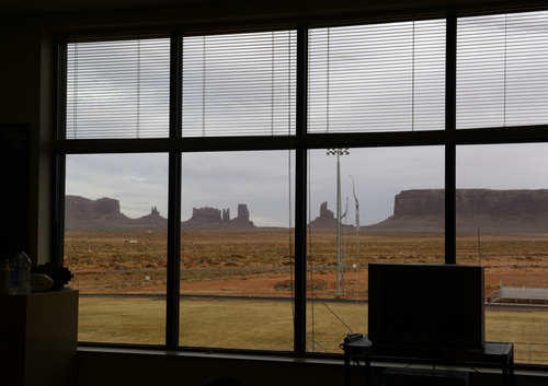 Rick Egan  |  The Salt Lake Tribune The view from Jim Dandy's class room at Monument Valley High School.