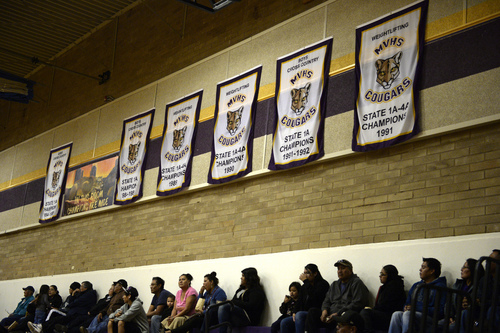 Rick Egan  | The Salt Lake Tribune   State championship banners hang on the walls of the gym at Monument Valley High School on Friday, January 31, 2014.