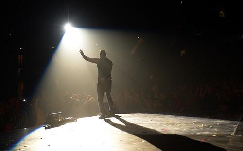 Rick Egan    The Salt Lake Tribune   John Cooper sings for Skillet, during The Road Show 2014, at the Maverick Center, Sunday, February 16, 2014.