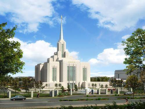 Rendering of redesigned Ogden Utah Temple. Courtesy LDS Newsroom