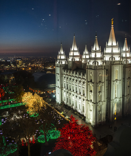 Chris Detrick  |  The Salt Lake Tribune The Christmas lights on Temple Square Friday November 29, 2013.  The first year the light were put up on Temple Square was in 1965. The lights will run through the end of the year.