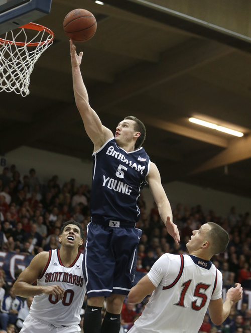 Ben Margot   The Associated Press BYU's Kyle Collinsworth (5) lays up a shot between Saint Mary's Brad Waldow, left, and Beau Levesque (15) in the first half of an NCAA college basketball game on Saturday, Feb. 15, 2014, in Moraga, Calif. (AP Photo/Ben Margot)