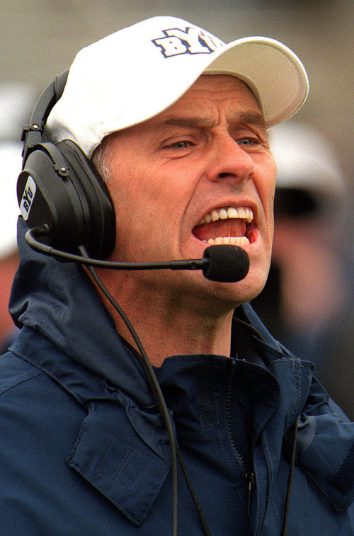 BYU Head coach Gary Crowton barks out commands during  the spring scrimmages at Lavell Edwards stadium in Provo.   photo by Rick Egan. 04/07/2001