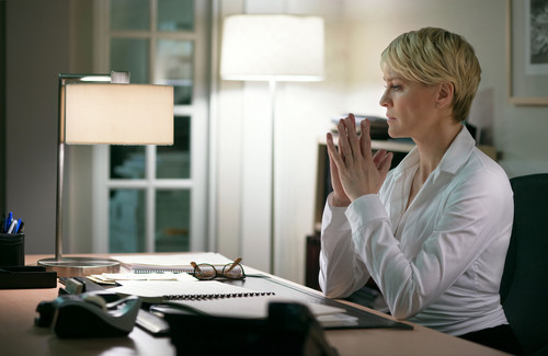 """This image released by Netflix shows Robin Wright as Clair Underwood in a scene from """"House of Cards."""" The second season of the popular original series premieres on Friday, Feb. 14, 2014 on Netflix. (AP Photo/Netflix, Nathaniel E. Bell)"""