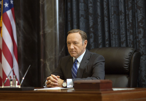 """This image released by Netflix shows Kevin Spacey as Francis Underwood in a scene from """"House of Cards."""" The second season of the popular original series premieres on Friday, Feb. 14, 2014 on Netflix. (AP Photo/Netflix, Nathaniel E. Bell)"""