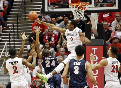 San Diego State center Skylar Spencer (0) rejects the shot of Nevada guard Deonte Burton during the first half of an NCAA college basketball game Saturday, Feb. 8, 2014, in San Diego. (AP Photo/Lenny Ignelzi)