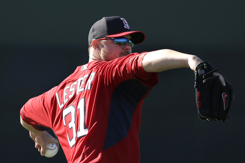 Boston Red Sox starting pitcher Jon Lester winds up for a throw during spring training baseball practice, Monday, Feb. 17, 2014, in Fort Myers, Fla. (AP Photo/Steven Senne)