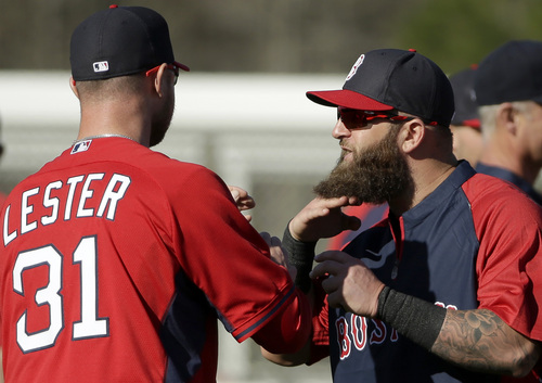 Boston Red Sox first baseman Mike Napoli, right, shows his beard to pitcher Jon Lester, left, during spring training baseball practice, Monday, Feb. 17, 2014, in Fort Myers, Fla. (AP Photo/Steven Senne)