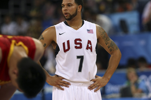 USA's Deron Williams during the game at the Olympic Basketball Gymnasium in Beijing, Sunday, August 11, 2008. USA defeated Chian 101-70.  Photo by Chris Detrick/The Salt Lake Tribune