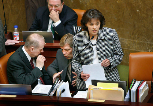 SCOTT SOMMERDORF  |  Tribune File PhotoRep. Becky Lockhart, R-Provo, was elected House speaker -- knocking off Speaker Dave Clark and making history. Utah has never before had a woman head the state House or Senate. Lockhart is pictured here during the legislative session earlier this year.