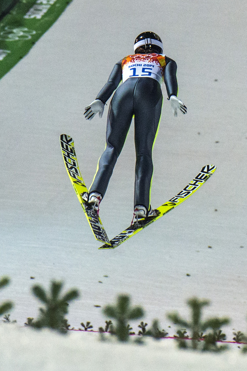 KRASNAYA POLYANA, RUSSIA  - JANUARY 11: Park City's Jessica Jerome competes in the women's ski jumping competition at the Gorki Ski Jumping Center during the 2014 Sochi Olympic Games Tuesday February 11, 2014. Jerome finished in 10th place with a score of 234.1.  (Photo by Chris Detrick/The Salt Lake Tribune)