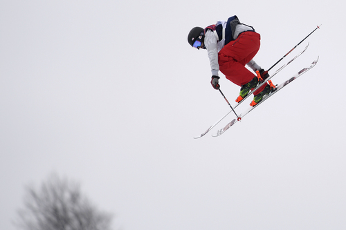 ROSA KHUTOR, RUSSIA - FEBRUARY 11: U.S.A. skier Devin Logan flies through the air during the women's ski slopestyle final. Sochi 2014 Winter Olympics on Tuesday, February 11, 2014. (Photo by AAron Ontiveroz/The Denver Post)