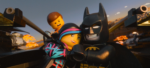 "Courtesy photo Emmet, voiced by Chris Pratt, Wyldstyle, voiced by Elizabeth Banks and Batman, voiced by Will Arnett, in a scene from ""The Lego Movie."""