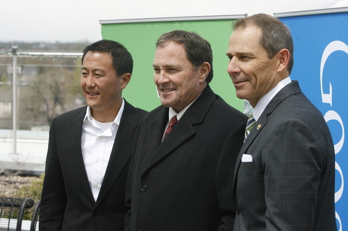 Rick Egan  |  Tribune file photo   L-R, Kevin Lo, general manager of Google Fiber, Gov. Gary Herbert, and Provo Mayor John Curtis, after the announcement that Provo will become one of Google's Fiber Optic cities, Wednesday, April 17, 2013. Google also announced Feb.19 that the high-speed fiber-optic Internet network known as Google Fiber could be coming to Salt Lake City. Google and city officials announced Wednesday that the Mountain View, Calif., search engine company will be conducting a feasibility study this year to see if Google Fiber is right for Salt Lake City.
