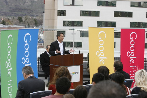Rick Egan  |   Tribune file photo   Kevin Lo, general manager of Google Fiber, speaks after the announcement that Provo will become one of Google's Fiber Optic cities, Wednesday, April 17, 2013. Google also announced Feb.19 that the high-speed fiber-optic Internet network known as Google Fiber could be coming to Salt Lake City. Google and city officials announced Wednesday that the Mountain View, Calif., search engine company will be conducting a feasibility study this year to see if Google Fiber is right for Salt Lake City.