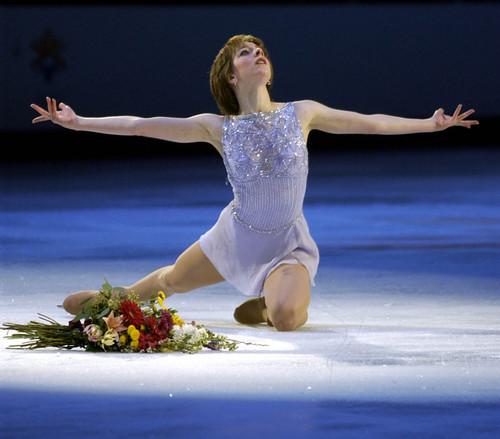 "Paul Fraughton  |  Tribune file photo Sarah Hughes skates to ""You'll Never Walk Alone"" during the 2002 Salt Lake Games."