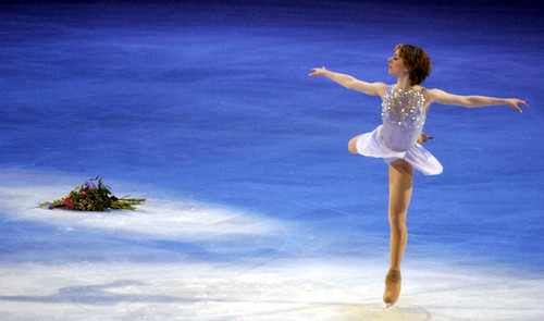 Leah Hogsten  |  Tribune file photo Gold medalist Sarah Hughes skates in the Gala Exhibition of Champions during the 2002 Salt Lake Games.