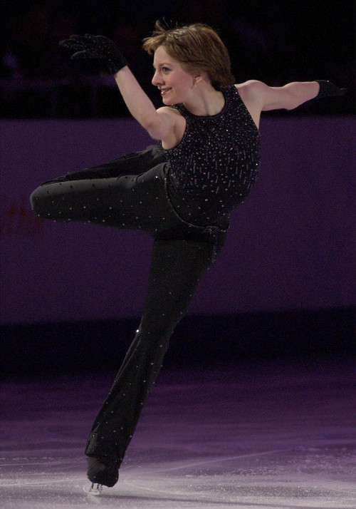 Leah Hogsten  |  Tribune file photo Gold medalist Sarah Hughes skates during her first performance of the figure skating Gala Exhibition of Champions program at the Salt Lake Ice Center.