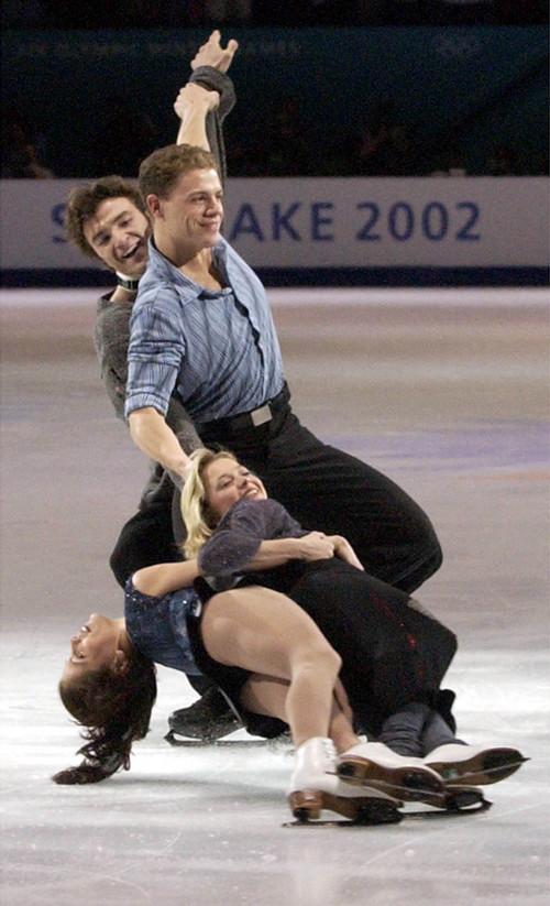 Leah Hogsten  |  Tribune file photo Gold medalist pair skaters Russia's Elena Berezhnaya and Anton Sikharulidze and Canada's Jaime Sale and David Pelletier skate in the figure skating Gala Exhibition of Champions program during the 2002 Salt Lake Games.