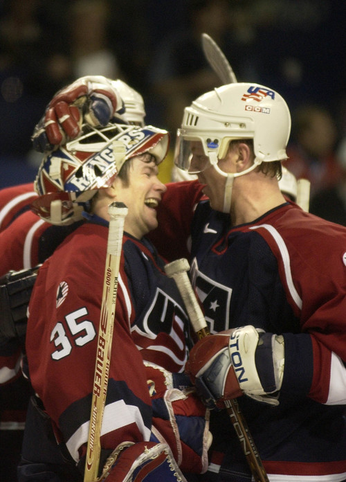 |  Tribune file photo USA's Brian Leetch and goalkeeper Mike Richter congratulate each other after USA's victory over Russia during the 2002 Salt Lake Games.
