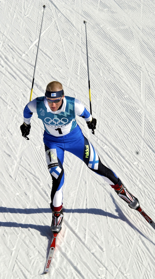 Al Hartmann  |  Tribune file photo Finland's Samppa Lajunen wins the men's 7.5K sprint race in the Nordic Combined event at Soldier Hollow during the 2002 Salt Lake Games.