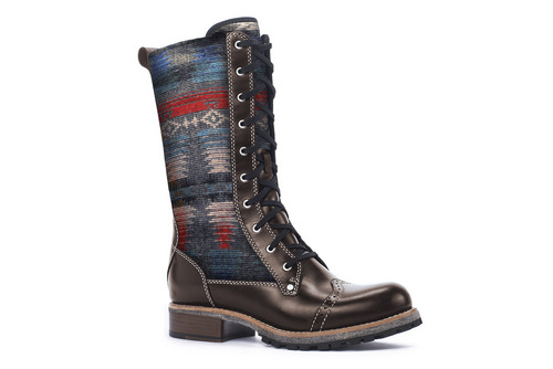 | Courtesy The Santa Fe woman's boot from Woolrich. The folks at Woolrich, easily one of the oldest companies found at Outdoor Retailer, is expanding its footprint by launching a footwear collection in the Fall of 2014. The launch is diverse, stylish and aggressive. The Santa Fe ($255) is a tall boot with front lacing for looks and a zipper for easy access. The leather shoe features Woolrich wool on the sides and is lined on the inside. This is one boot you won't want to cover with pants. www.woolrich.com