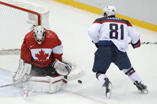 USA forward Phil Kessel shoots on Canada goaltender Carey Price during the first period of the men's semifinal ice hockey game at the 2014 Winter Olympics, Friday, Feb. 21, 2014, in Sochi, Russia. (AP Photo/Mark Humphrey)