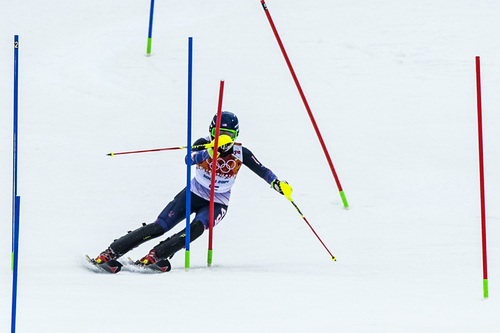 KRASNAYA POLYANA, RUSSIA  - JANUARY 21: Mikaela Shiffrin, of Eagle-Vail, Colo., competes in run 1 of the women's slalom competition at Rosa Khutor Alpine Center during the 2014 Sochi Olympics Friday February 21, 2014. Shiffrin is currently winning with a time of 52.62. (Photo by Chris Detrick/The Salt Lake Tribune)