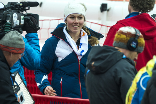 KRASNAYA POLYANA, RUSSIA  - JANUARY 21: Mikaela Shiffrin, of Eagle-Vail, Colo., talks to reporters after competing in run 1 of the women's slalom competition at Rosa Khutor Alpine Center during the 2014 Sochi Olympics Friday February 21, 2014. Shiffrin is currently winning with a time of 52.62. (Photo by Chris Detrick/The Salt Lake Tribune)