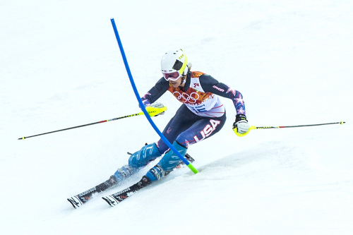 KRASNAYA POLYANA, RUSSIA  - JANUARY 21: Resi Stiegler competes in run 1 of the women's slalom competition at Rosa Khutor Alpine Center during the 2014 Sochi Olympics Friday February 21, 2014. Stiegler is currently in 20th place with a time of 56.81. (Photo by Chris Detrick/The Salt Lake Tribune)