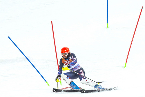KRASNAYA POLYANA, RUSSIA  - JANUARY 21: Julia Ford competes in run 1 of the women's slalom competition at Rosa Khutor Alpine Center during the 2014 Sochi Olympics Friday February 21, 2014. Ford is currently in 30th place with a time of 58.88. (Photo by Chris Detrick/The Salt Lake Tribune)